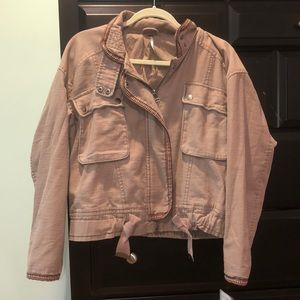 Free People mauve bomber with tribal lining